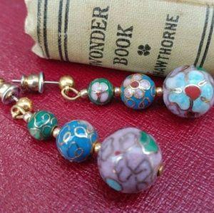 Vintage Cloisonne Enamel Ball Dangle Earrings